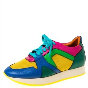 BURBERRY Multicolor Leather And Mesh Sneakers